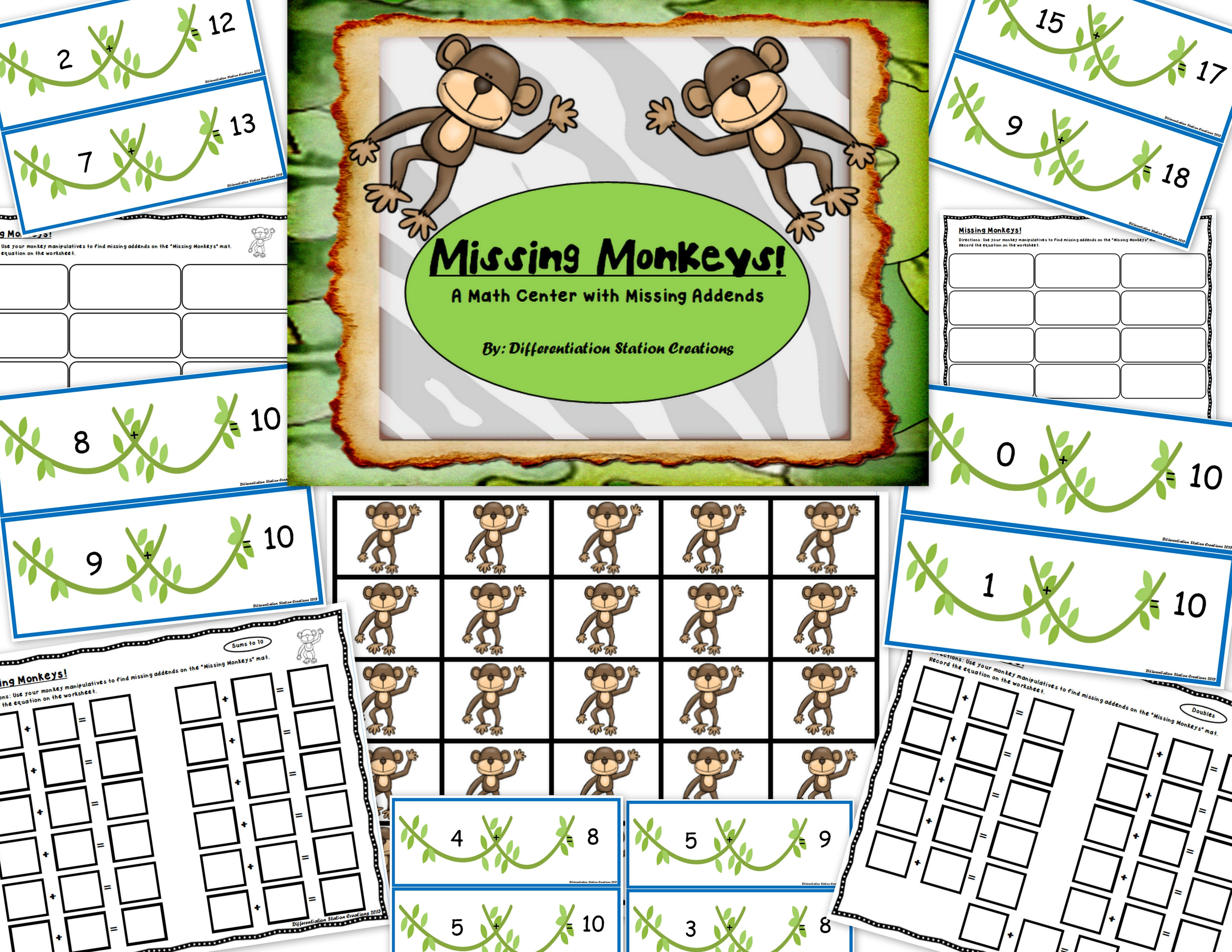 Missing Monkeys Math Centers With Missing Addends