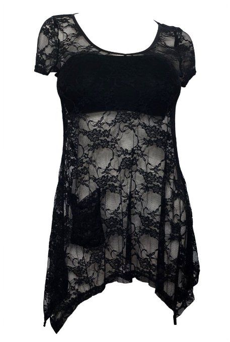 e2c3e751297 Amazon.com  eVogues Plus size Sheer Floral Lace Top Black  Clothing ...