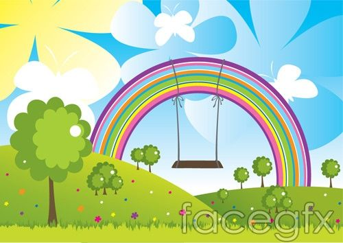 Lovely landscapes vector Rainbow Butterfly tree meadow