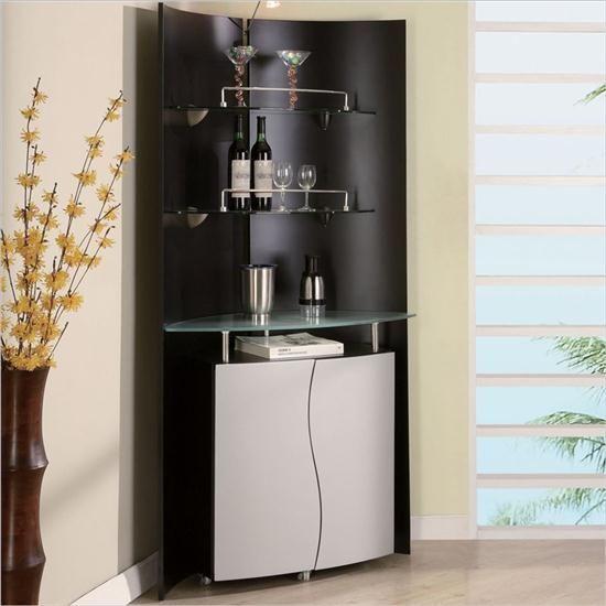 Black And White Modern Minimalist Corner Home Bar Stylish