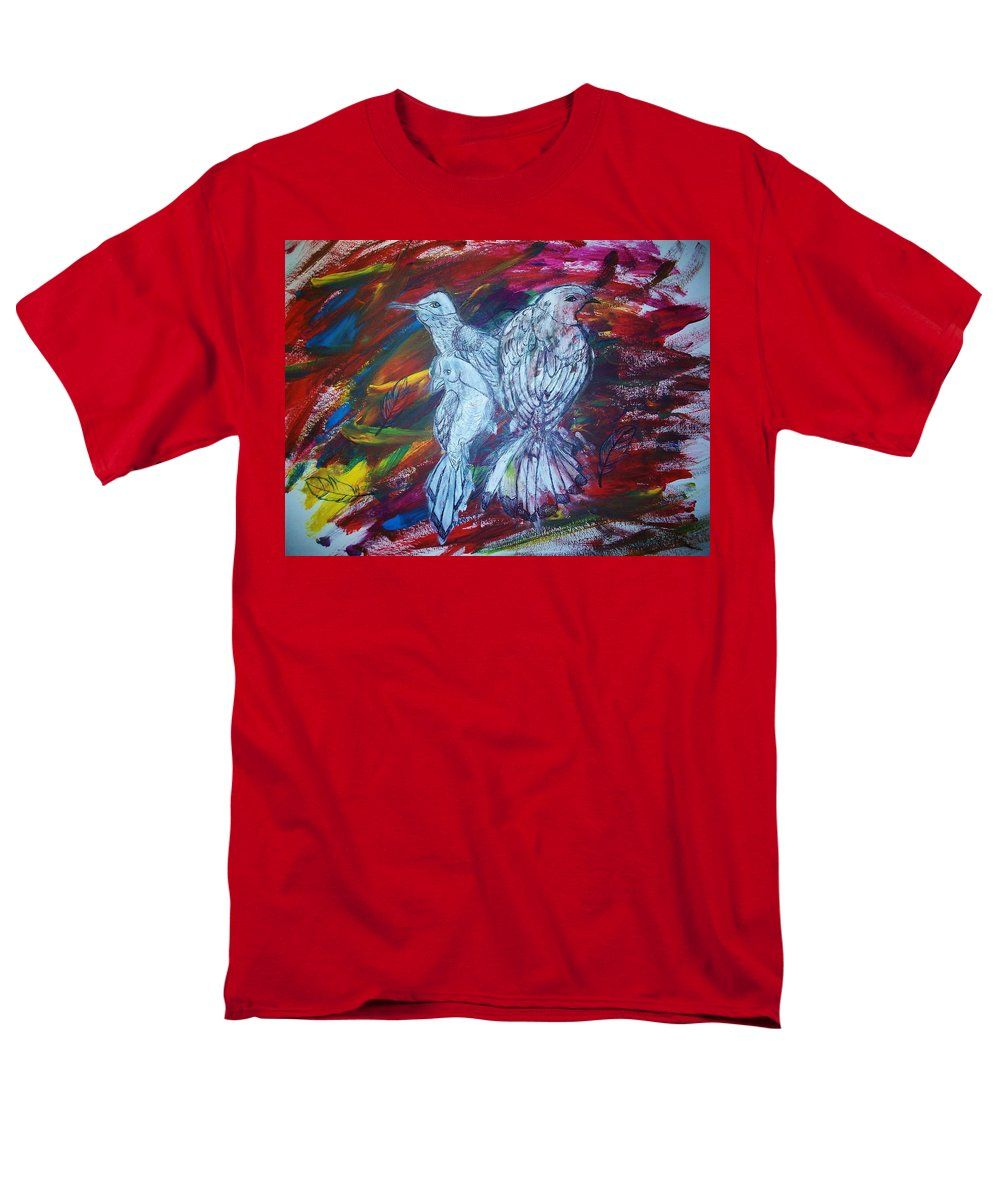 Blue Birds T-Shirt featuring the painting Blue Birds Of Happiness by Tiana Art