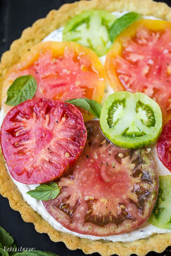 timeless design c29a1 278fa This Ricotta Heirloom Tomato Tart has a gluten-free cornmeal crust and  basil ricotta filling, topped with beautiful heirloom tomatoes!…   Best  Desserts