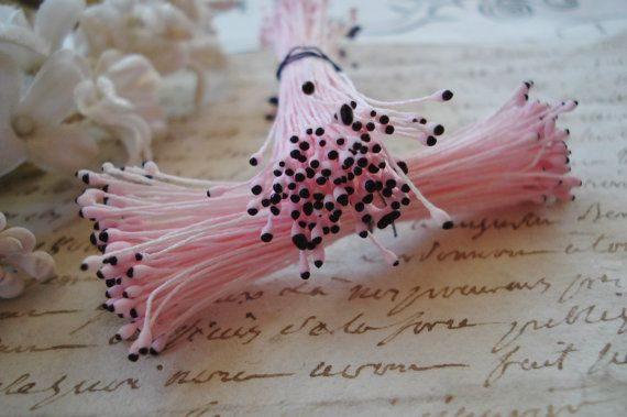 1 Bunch Vintage Shabby Pink & Black Matte by VintageFrenchRibbons