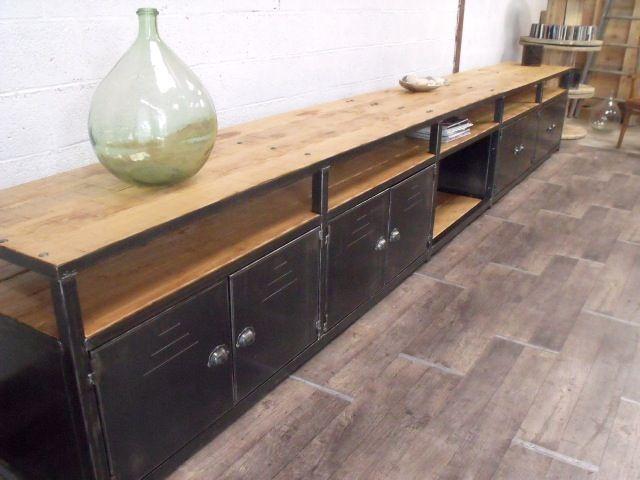 enfilade bois métal | meubles deco industriels | pinterest | tvs ... - Meuble Enfilade Design