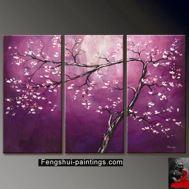 3 Piece Purple Cherry Blossom Muti Panel Abstract Modern: ... Shui Painting, Cherry