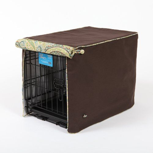 $109.00 Stagecoach Dark Chocolate with Manali Aqua Cording XSmall - Dark Chocolate with Manali Aqua in Stagecoach - Standard    A deep chocolate color in soft cotton twill shown here with Manali Aqua fabric.    Manali Aqua is a gorgeous paisley print of aqua, deep ocean blue and dark chocolate swirl hues.    This crate cover fits the following MidWest Crates:    Extra Small - In stock - ships in 2 days  L ...