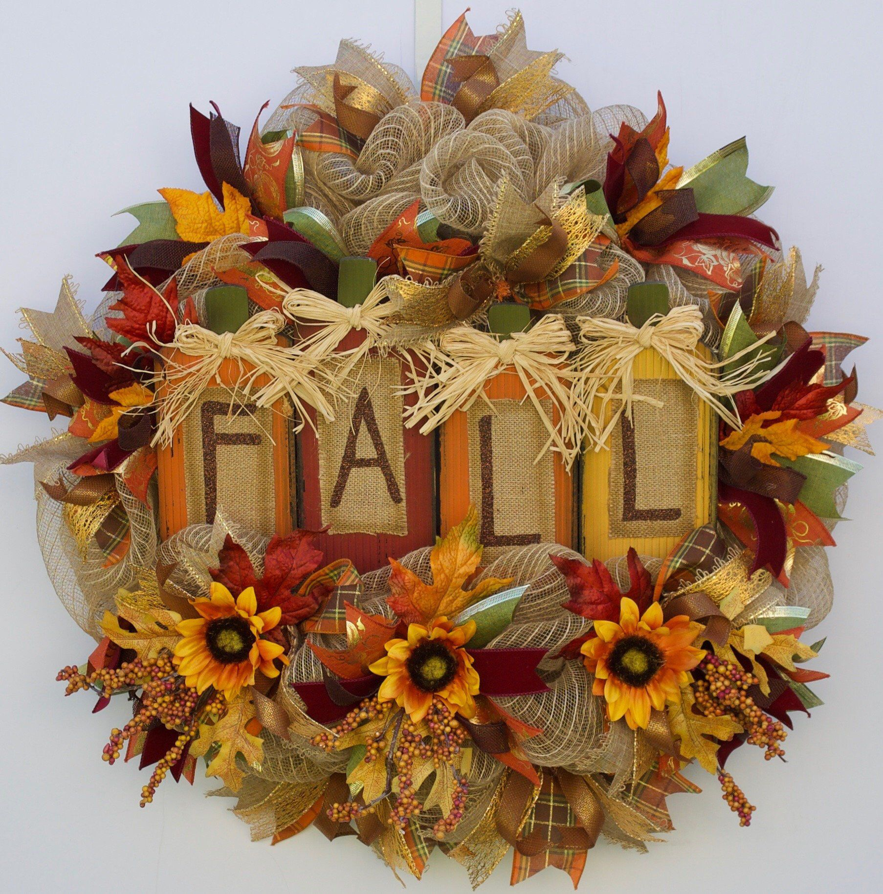 Fall Welcome Wreath, Hello Fall Wreath, Harvest Wreath ...