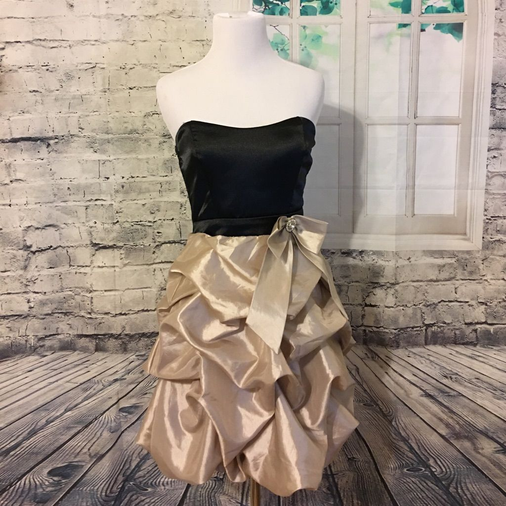 Black bodice and creamgold skirt cocktail dress gold skirt and