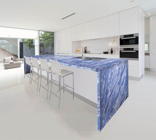 Unique Blue Marble Countertops Contemporary Kitchen