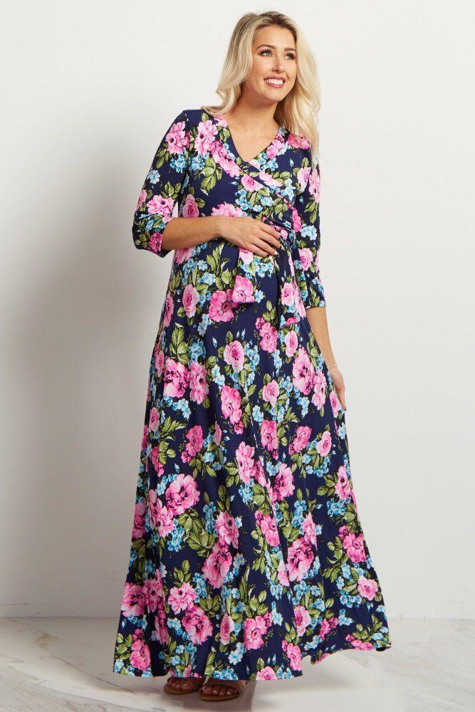 6e0906f394 Navy Neon Floral Draped 3 4 Sleeve Maternity Maxi Dress ...