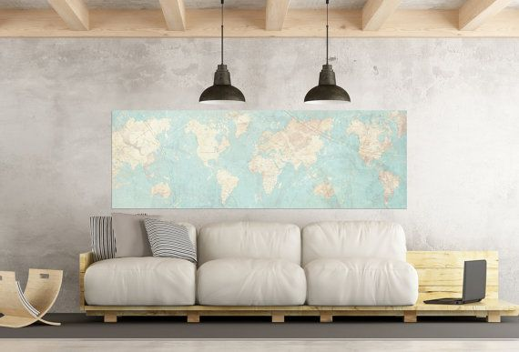 World map canvas print vintage map world map horizontal extra large world map canvas print vintage map world map horizontal extra large wall art vintage map antique gumiabroncs Gallery
