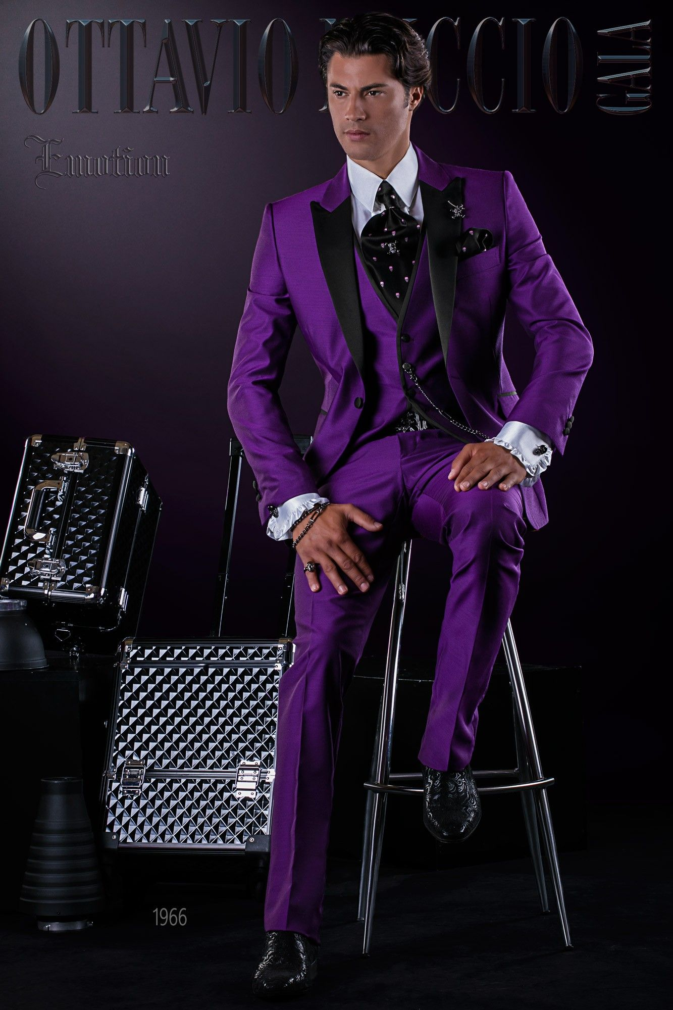 8150eea28c0a8b Fashion Italian bespoke purple suit with black satin peak lapel, 1 button  and matching waistcoat. Wool mix fabric. Fashion suit 1966 Emotion  Collection ...
