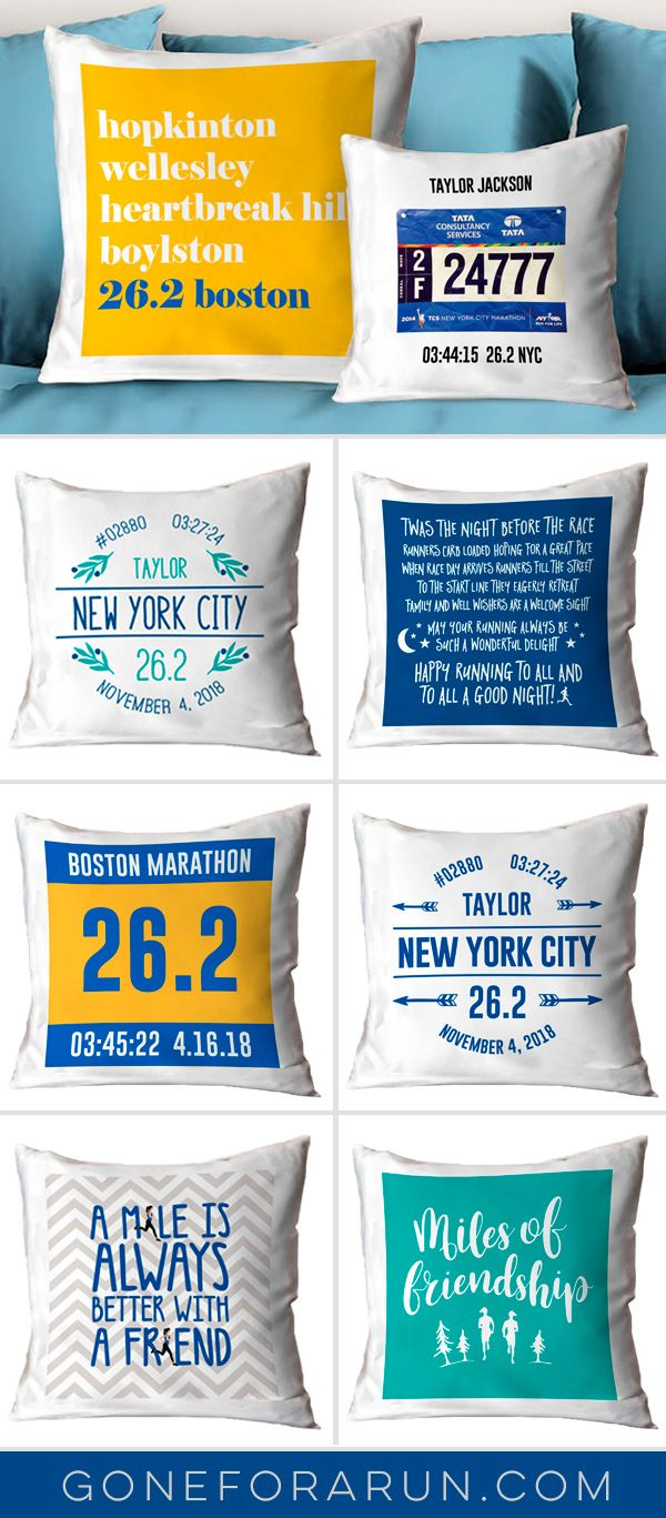 New Running Inspired Decorative Pillows that can be personalized with your races and race bibs plus designs that are great for your running friends!
