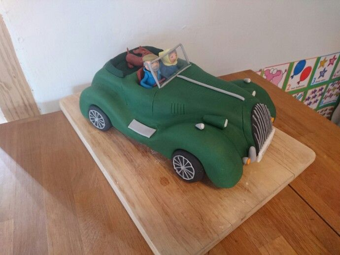 Vintage classic Morgan car 3d car cake Hand made celebration