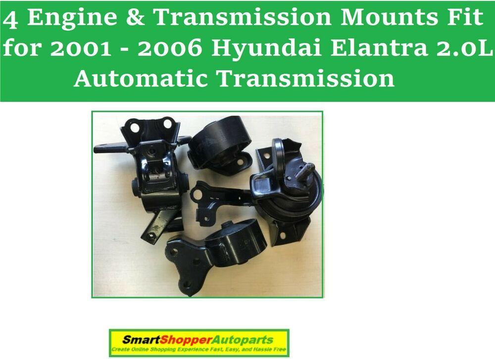 4 Pcs Engine Transmission Mounts Fit For 2001 2006 Hyundai Elantra 2 0l A T Aftermarketproducts Hyundai Elantra Elantra Hyundai
