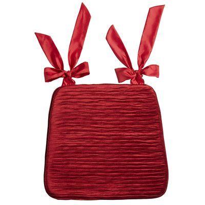 Cush Velvet Pleat Dining Cushion Red New Cushions For My