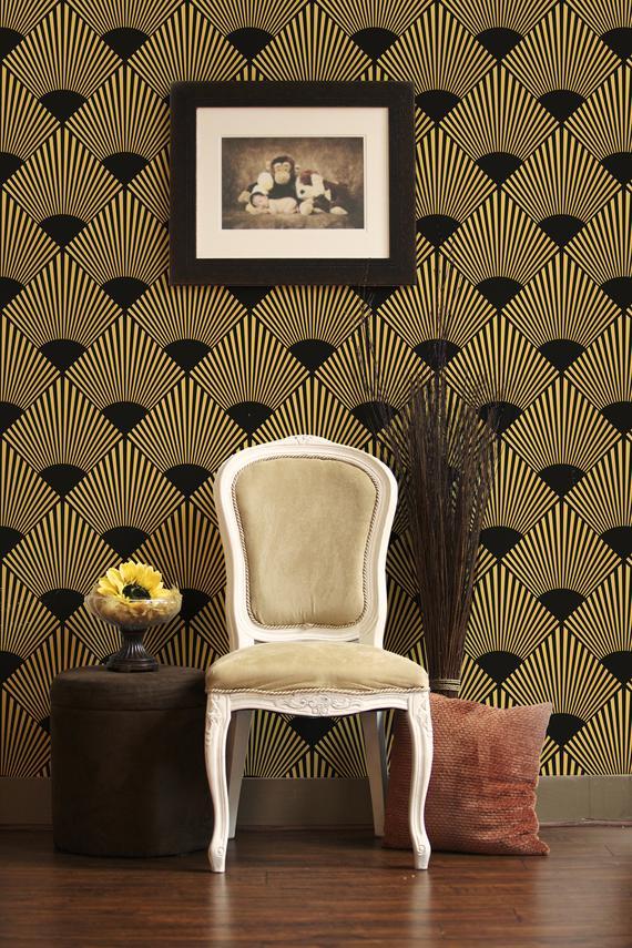 Dark Art Deco Wallpaper Peel And Stick Removable Wallpaper Etsy In 2021 Art Deco Wallpaper Wallpaper Temporary Wallpaper
