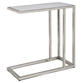 Winfrey Modern Hollywood Regency White Marble Silver Side Table.  #kathykuohome #table #HollywoodRegency