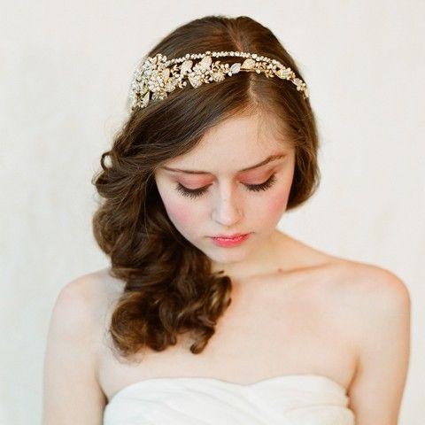 Bridal crystal pearl and bead headband Double band by myrakim.