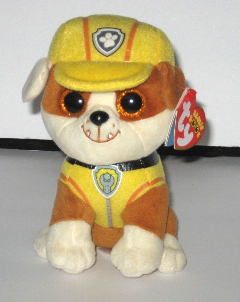 1da3fe2f70c Ty Beanie Boos Paw Patrol Rubble Brown White Yellow Outfit Plush Puppy Dog  6