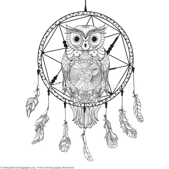 4 Owl Dream Catcher Coloring Pages – GetColoringPages.org #coloring ...