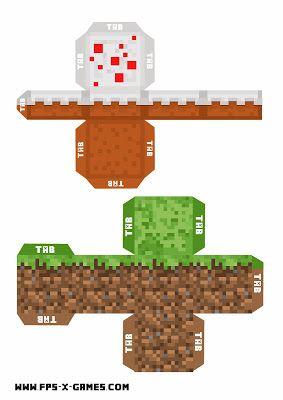 Minecraft printable grass and cake block