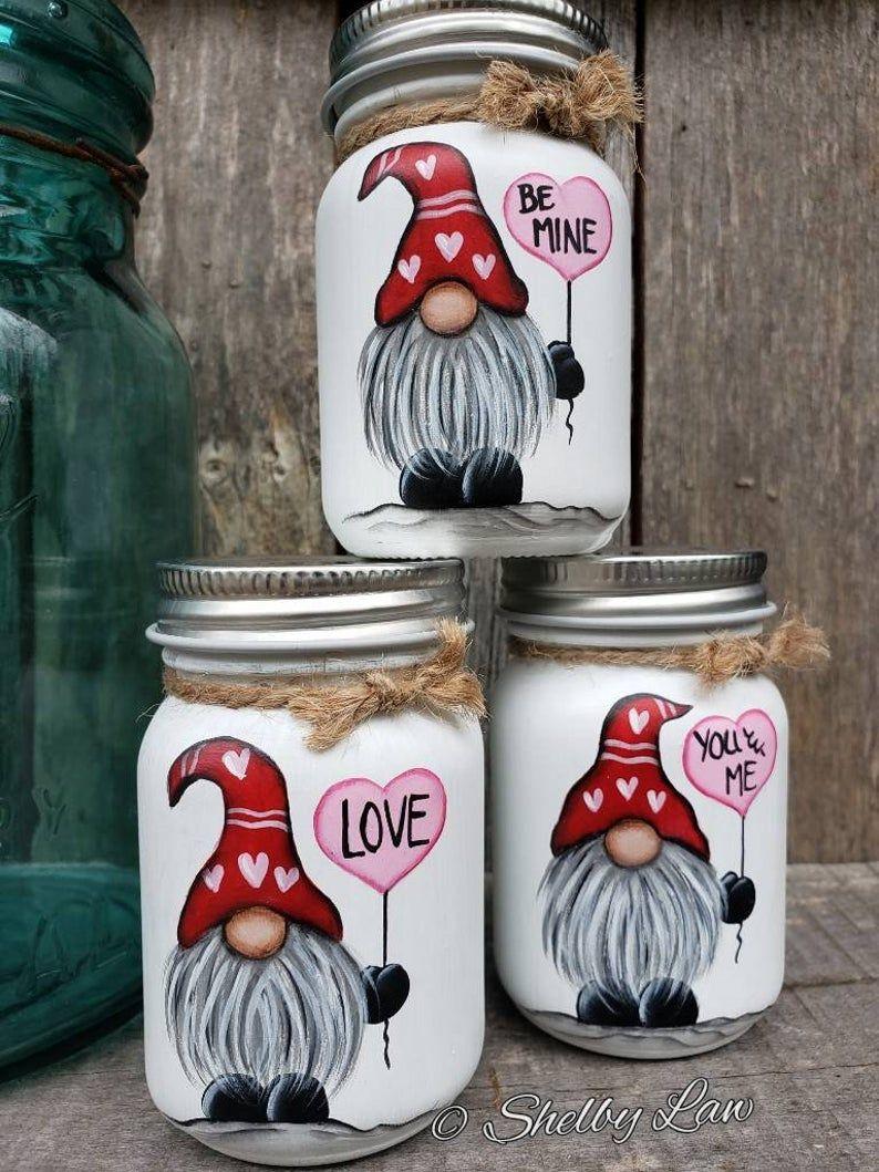 Valentines Day Gnome Mini Mason Jar, Love Perfect
