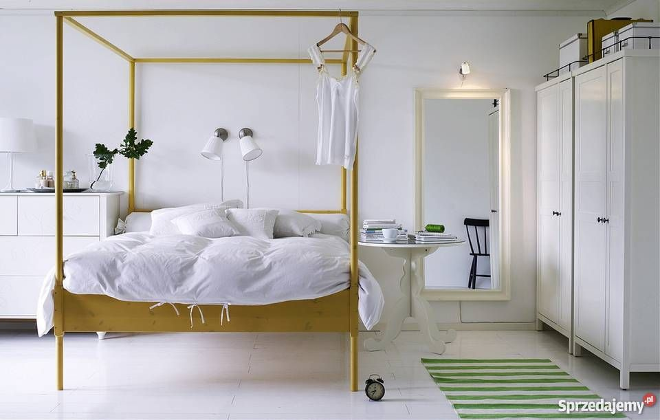 Inne rodzaje Łóżko z baldachimem IKEA EDLAND drewno drewniane żółty/złoty Łóżka AM35