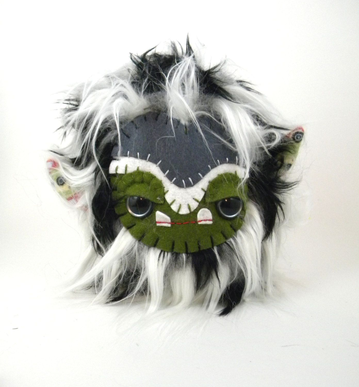 Stuffed Animal Cute Plush Toy Monster Kawaii Plushie Black and White Faux Fur Toy 7 inches tall by TheJaeBird on Etsy