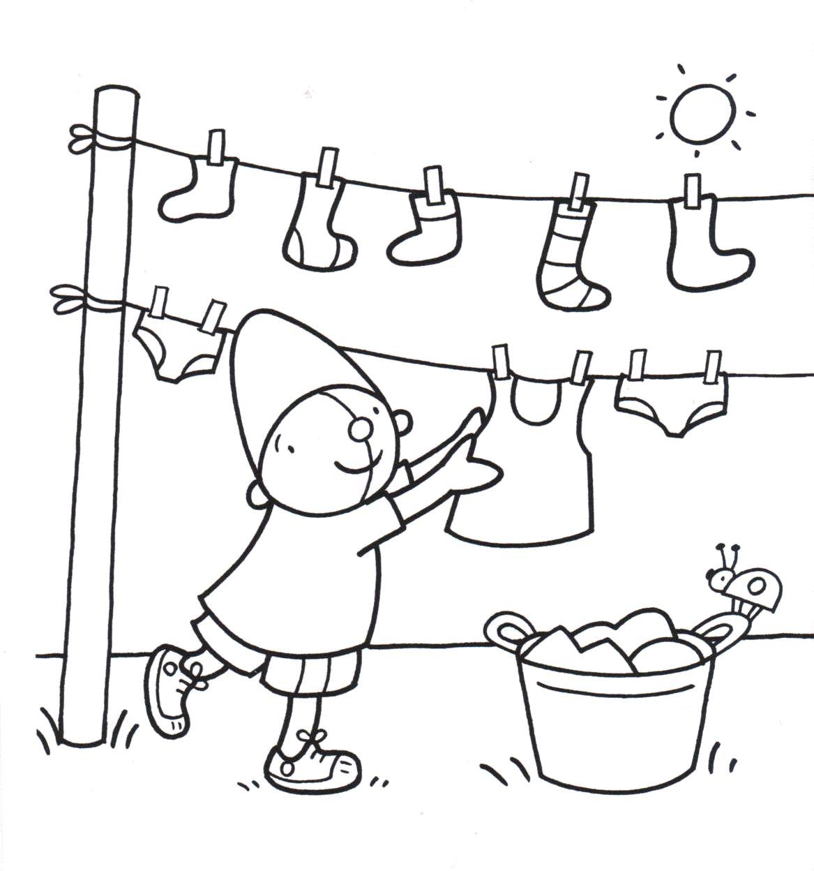kleurplaat pompom hangt de was op kleding knutselen