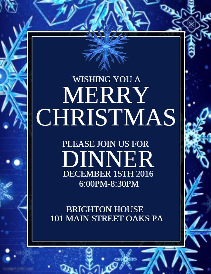 Merry Christmas Dinner Poster Template Christmas Poster Templates