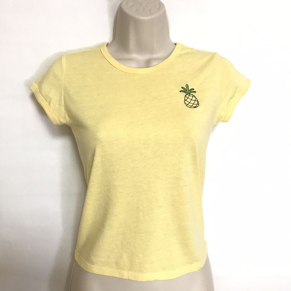 7c46d1a9ad3 City Streets Pastel Yellow Juniors Womens T-shirt Pineapple Size ...