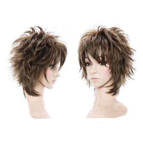 Fluffy Short Curly Light Brown Lady Full Wig Styli