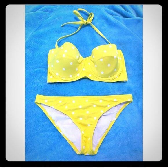 She wore a yellow polka dot bikini