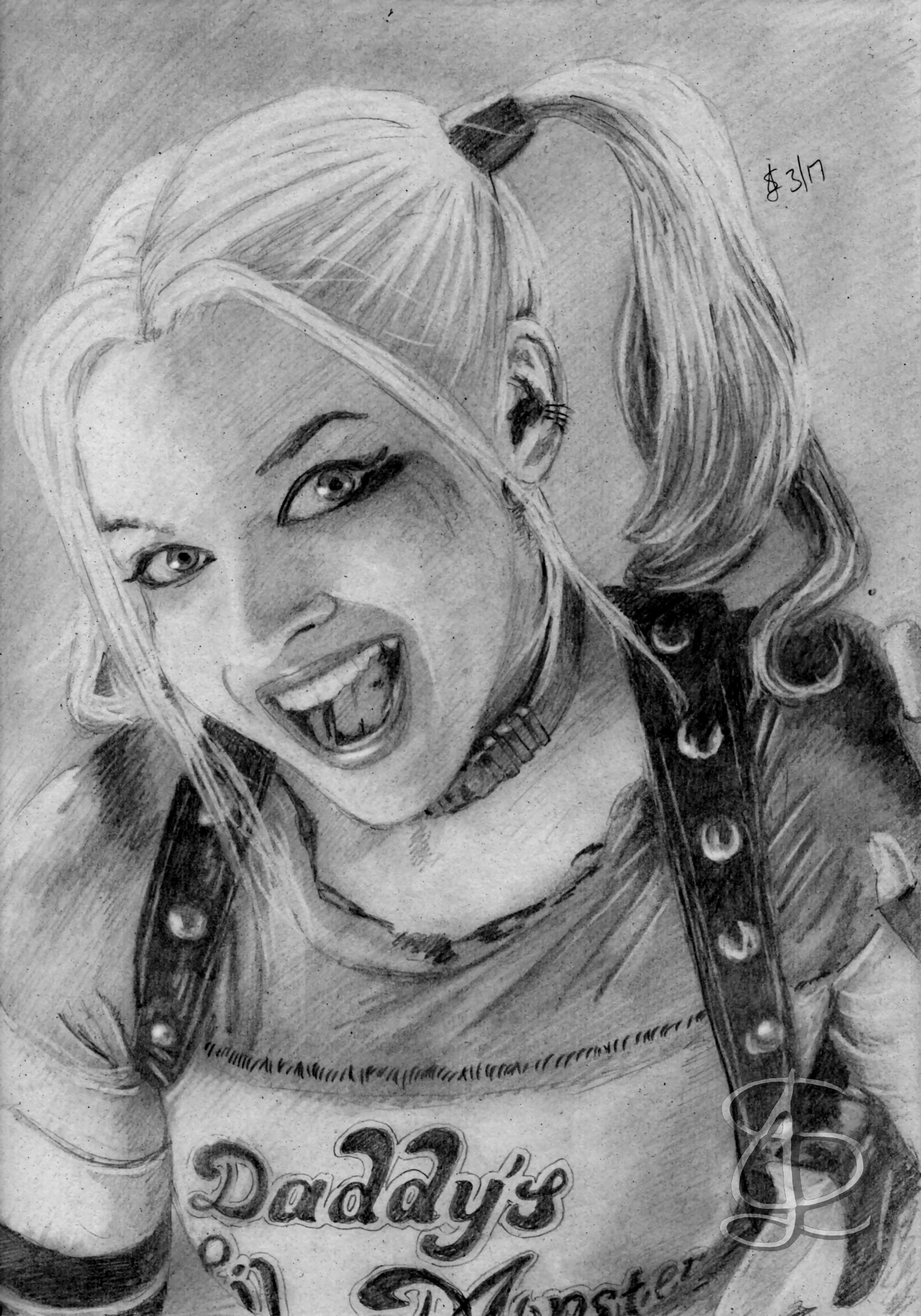 Margot Robbie As Harley Quinn In U0026#39;Suicide Squadu0026#39;. Freehand Sketch Using HB Pencil And Eraser ...