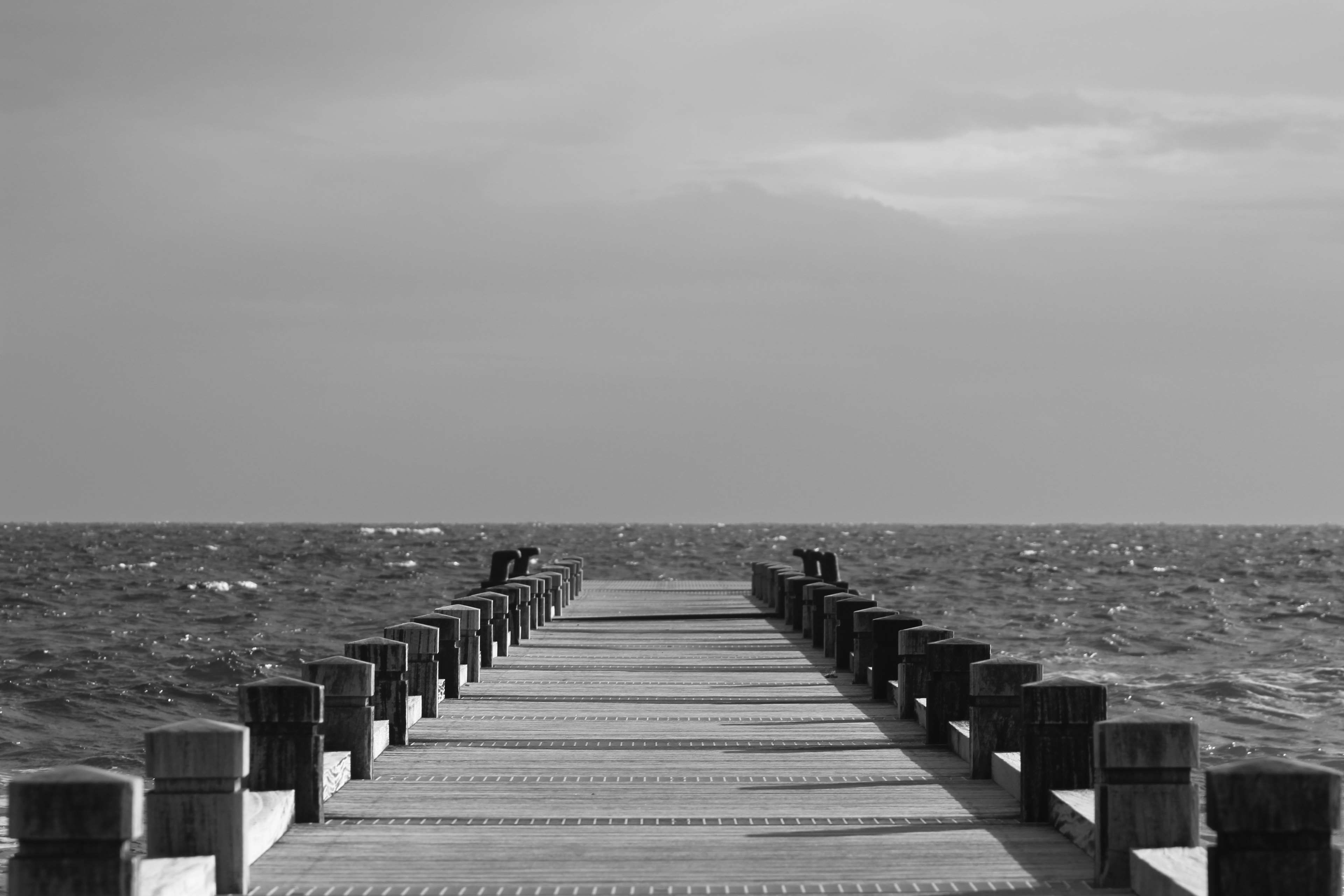 Beach Black And White Boardwalk Clouds Cloudy Sky Dock Grey Sky Horizon Ocean Pier Sea Seascape Sky Water Waves Seascape Sky Water Waves Wallpaper sky clouds pier sea horizon