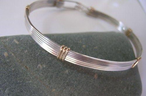Silver And Gold Bangle Bracelet Elegant Contemporary 7 Inches