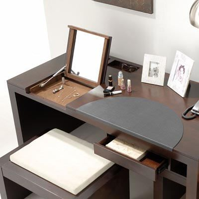 Flip Top Mirror Turns Workstation Into Vanity Desk