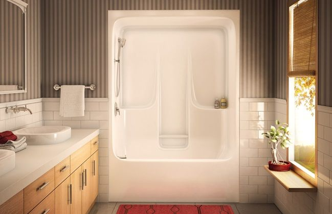 akermaax tub shower one-piece unit | basement reno | bathtub