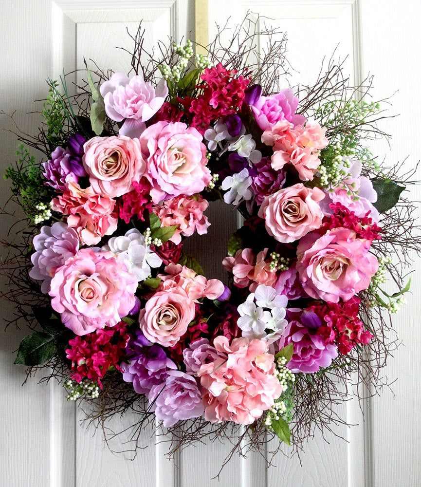 Photo of Extra Large Peony and Roses spring wreath for front door, small wreath, wreathe, Summer Wreath, gift for Mom, wedding wreath