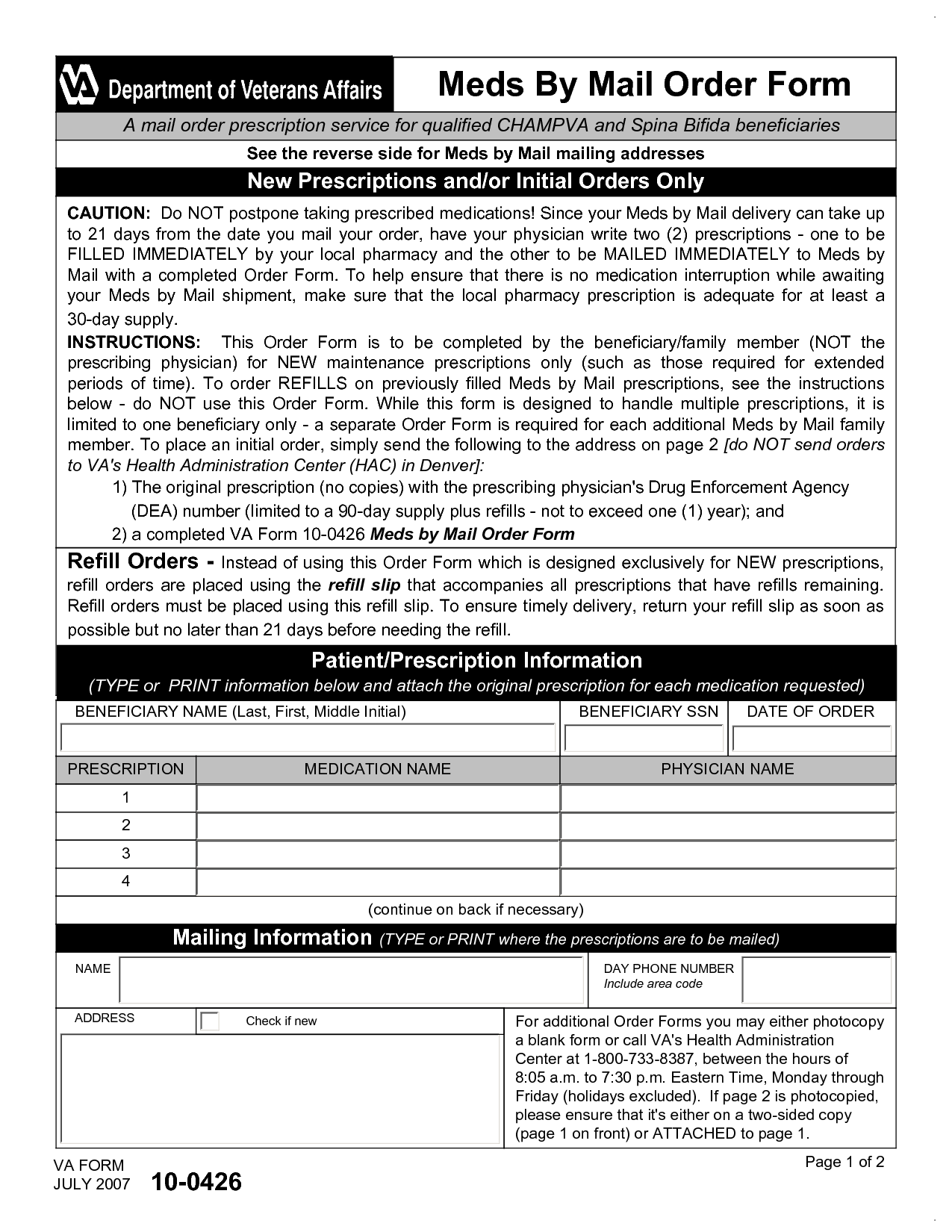 Form for Mail Order Percriptions   Meds By Mail Order Form A mail ...