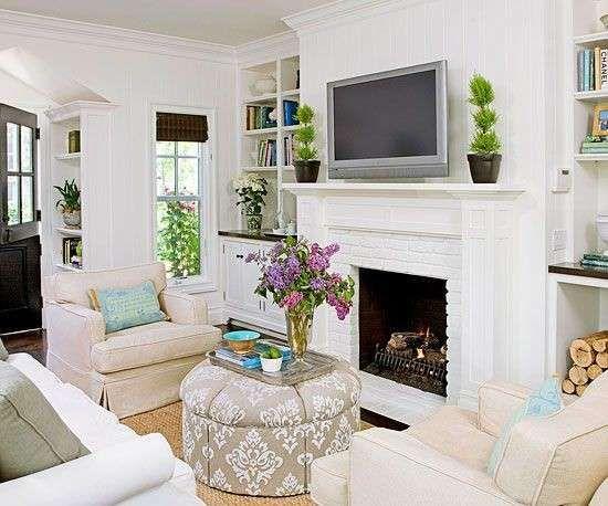 Arredare un soggiorno quadrato - Soggiorno con camino | Cottage ...