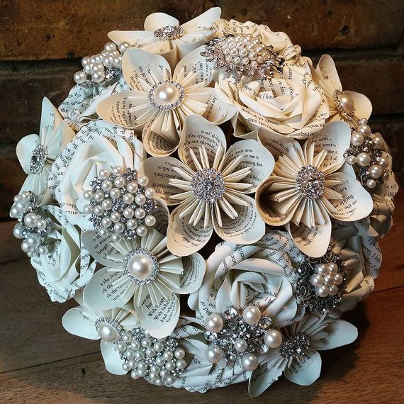 Diy Wedding Flower Bouquet: Paper Flower Bouquet With Gems