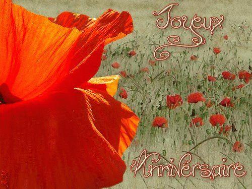 Paysage Avec Des Fleurs Rouges Joyeux Anniversaire Anniversaire