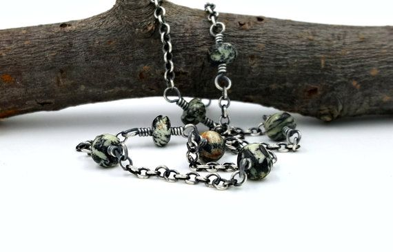 Rustic Wire Wrap Necklace black with green by MaisyGraceDesigns
