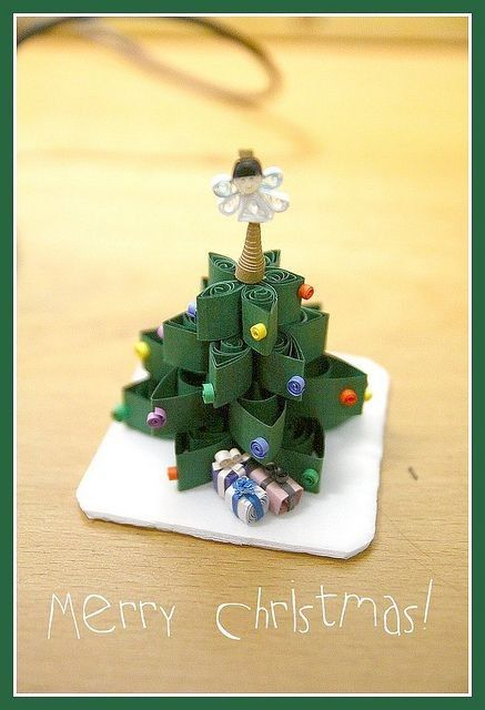 2014 paper quilling christmas tree with angle on the top christmas gift 2014 christmas - Best Christmas Gift 2014