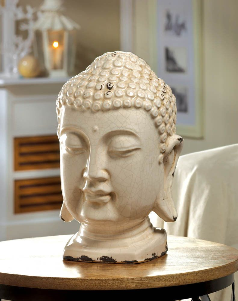 Table Top Buddha Head Decor Peace Serenity And Great Style This Ceramic Has A Led Iridescent White Finish Making It Fit For