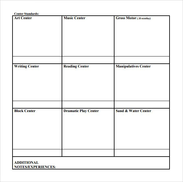 Blank Toddler Lesson Plan Template