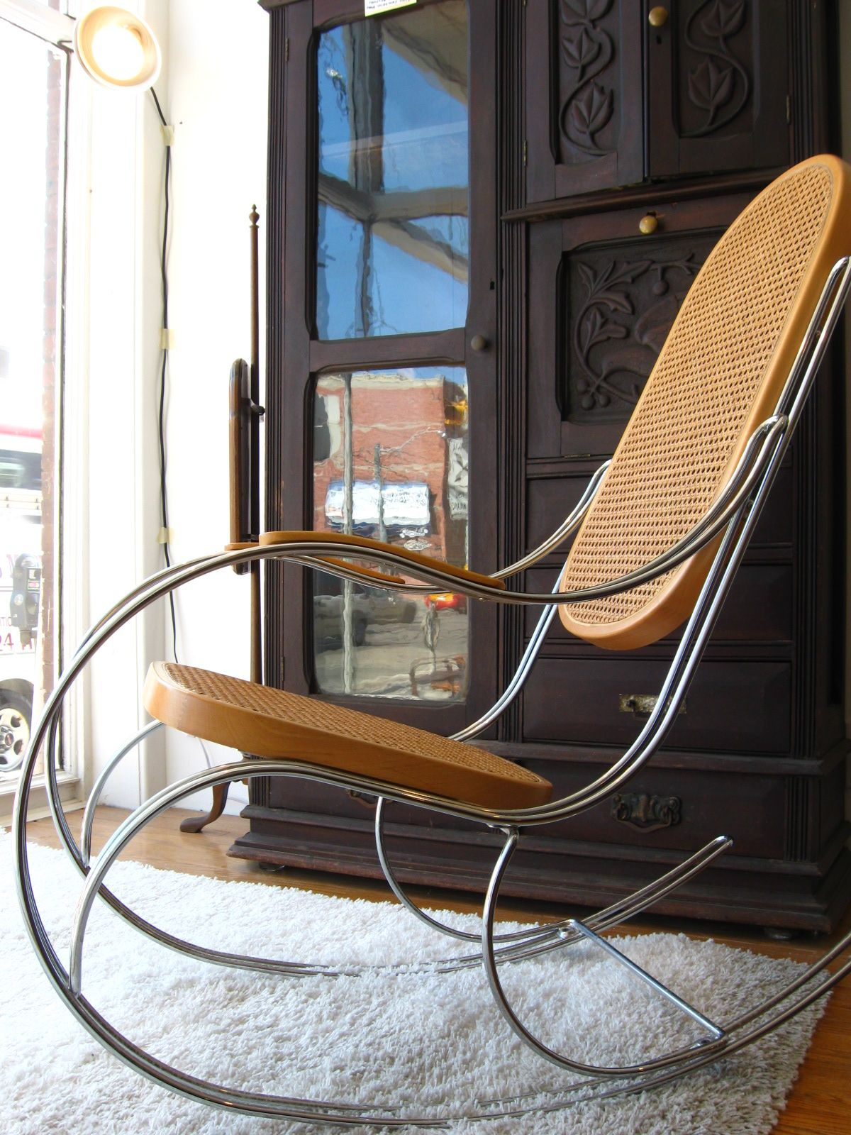 Vintage Chrome & Cane Italian Rocking Chair