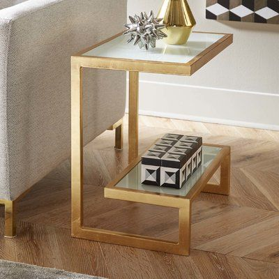 Mercer41 Thaxted End Table Finish Golden Glass Side Tables Bedroom Table Decor Living Room Furniture